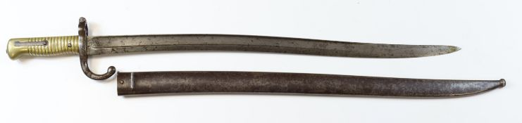 Bayonet a French Chassepot dated 1873 with good fitting scabbard but mismatched numbers