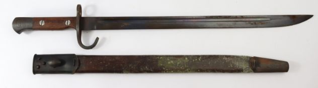 Bayonet 1907 pattern hook quillon a good copy in scabbard.