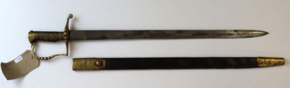 Bayonet a likely later made Colonial Sword bayonet with T slot for the .577 Enfield complete with