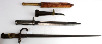 Bayonets various x2 no scabbards, small military knife ? And a tribal dagger in skin sheath. (4)