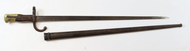 Bayonet a French Gras bayonet dated 1879 with good fitting scabbard but mismatched numbers
