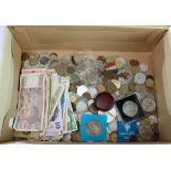 GB & World coins, medallions, and banknotes, quantity in a shoebox.