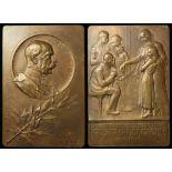 Austro-Hungarian Empire commemorative bronze plaque 75x50mm presenting the Emperor Franz Joseph