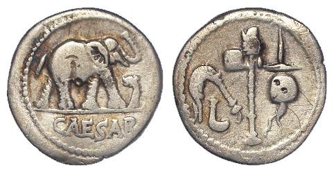 Roman Imperatorial silver Denarius of Julius Caesar, mint moving in Gallia Narbonensis or Hispania