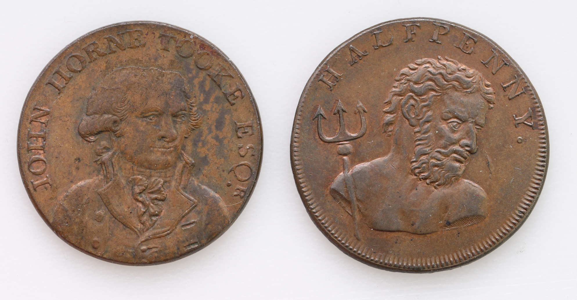 Tokens, 18thC (2) Middlesex, Halfpennies: Fowlers Whale Fishery 1794 EF trace lustre, and John Horne