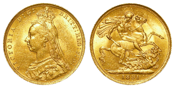 Sovereign 1891 EF, with a modern case.