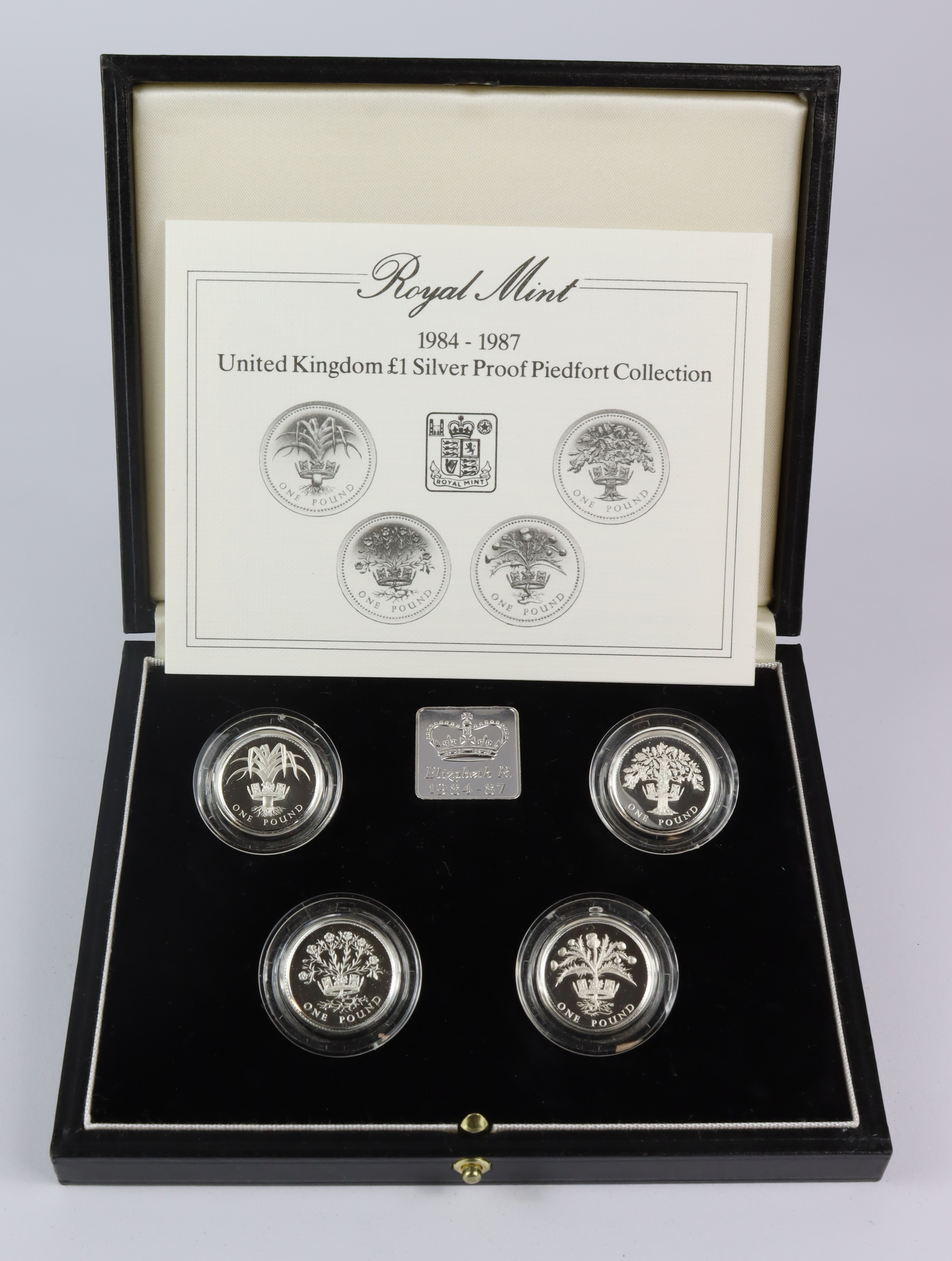 One Pound Silver Proof Piedfort four coin set 1984 - 1987 FDC boxed as issued