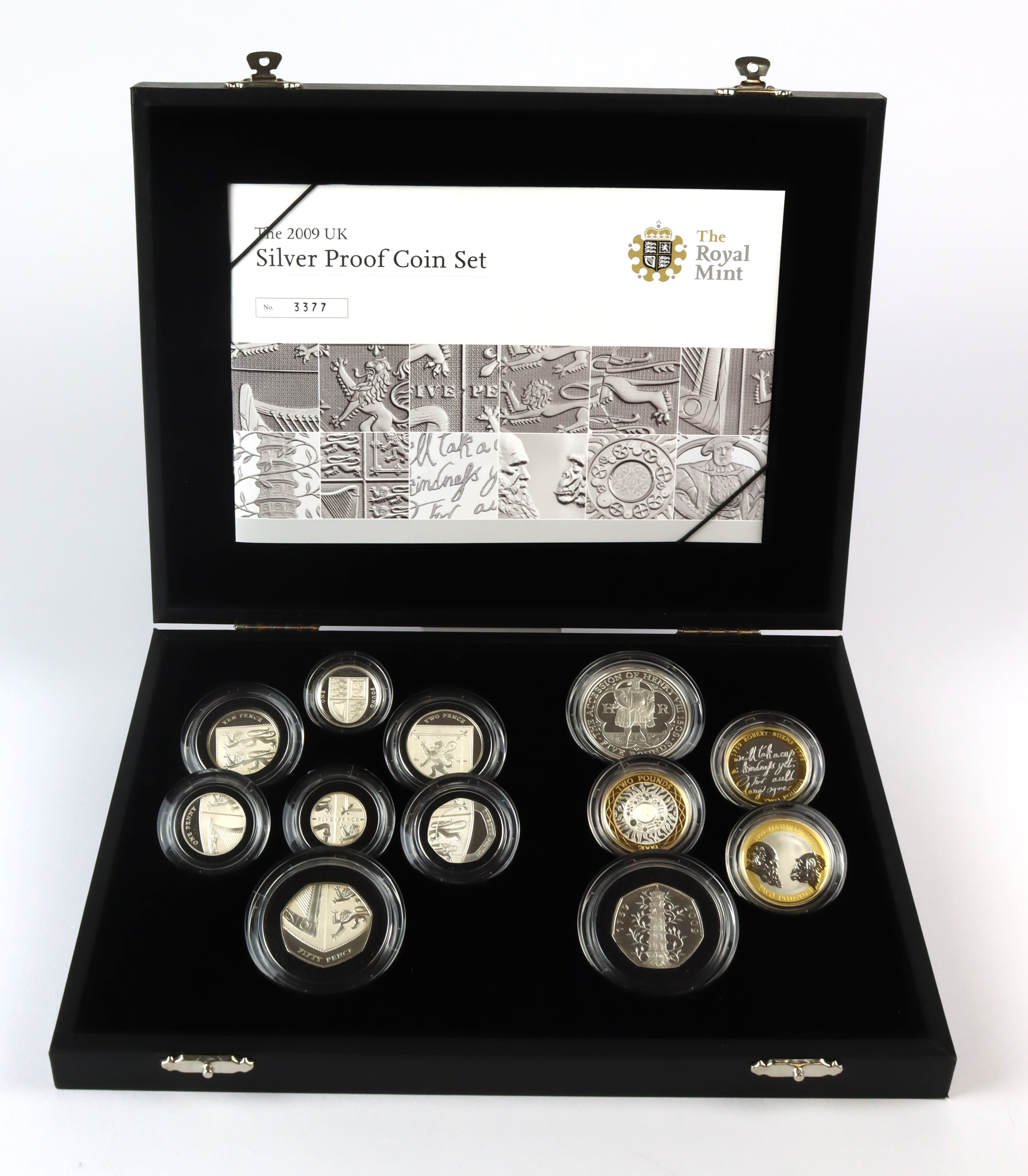 Proof Set 2009, the 12 coin set all struck in Silver. Five Pounds Henry VIII, Two Pounds (3) Darwin,
