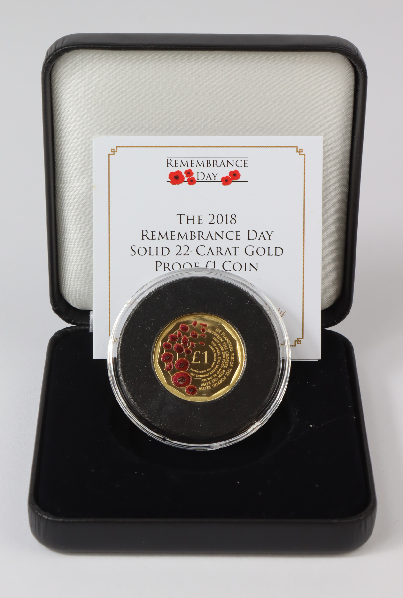"""Alderney One Pound (22ct gold) 2018 """"Remembrance"""" Proof FDC cased as issued (only 499 minted)"""