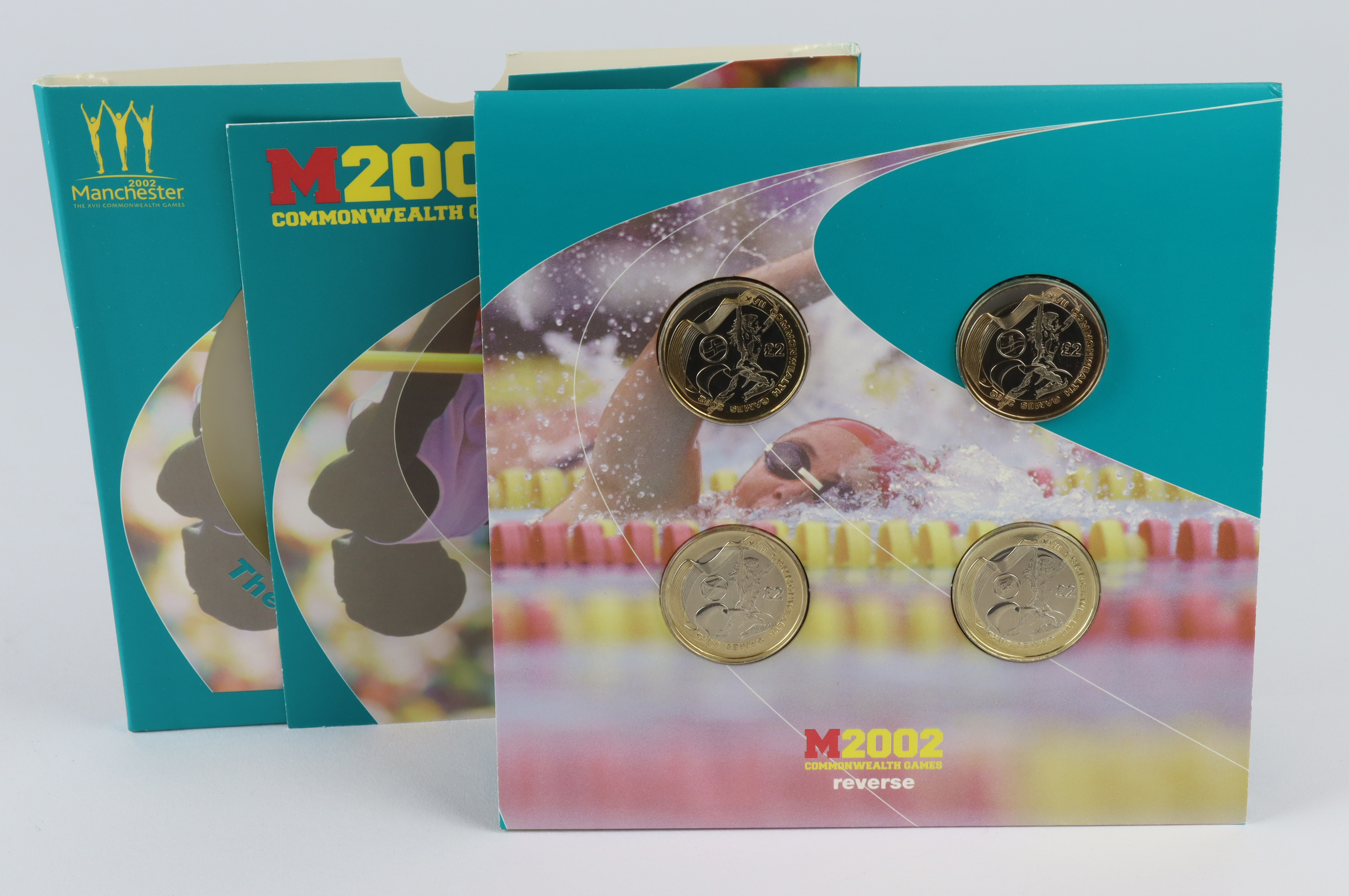 """Two Pounds 2002 """"Commonwealth Games"""" four coin Mint set. BU"""