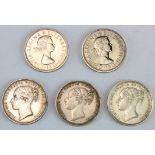 Shillings (5): 1872 die # 49 lightly cleaned GVF, 1878 die #5 GVF, 1881 Davies 917 VF tiny edge