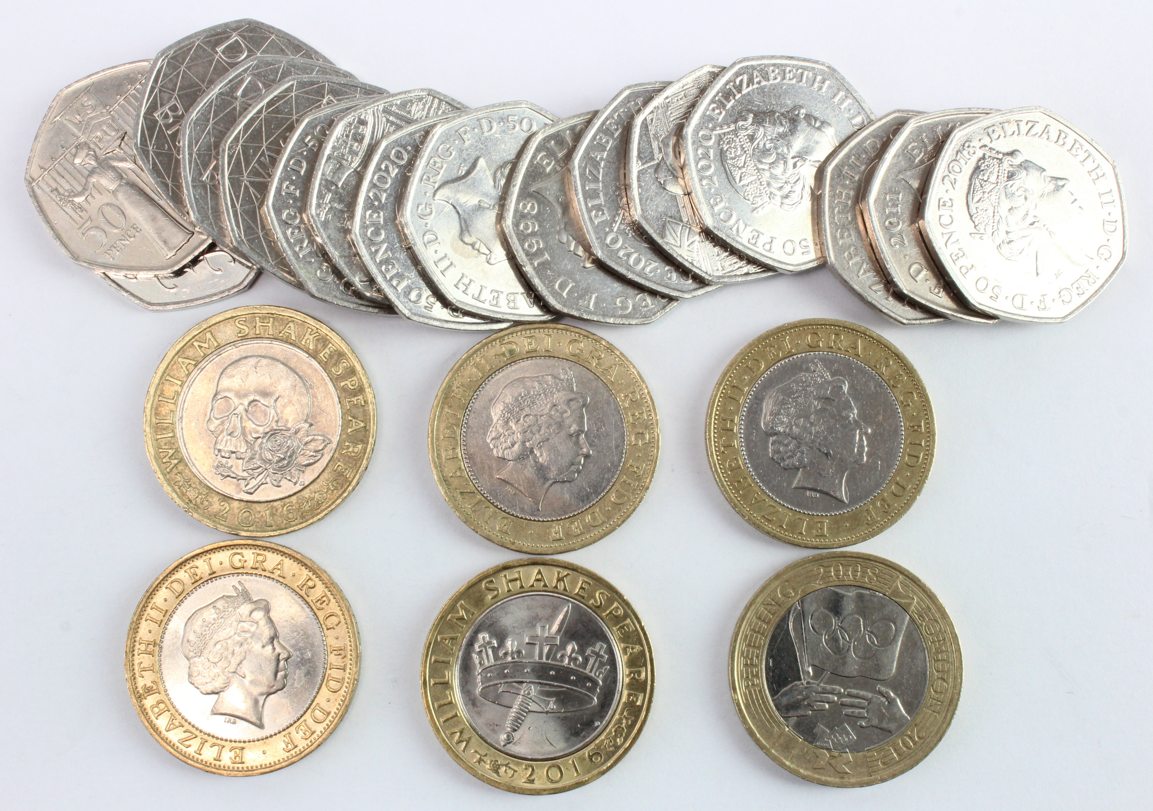 GB £2 Coins (6) and 50p's (16), commemorative currency issues. Noted Manchester Games £2 2002