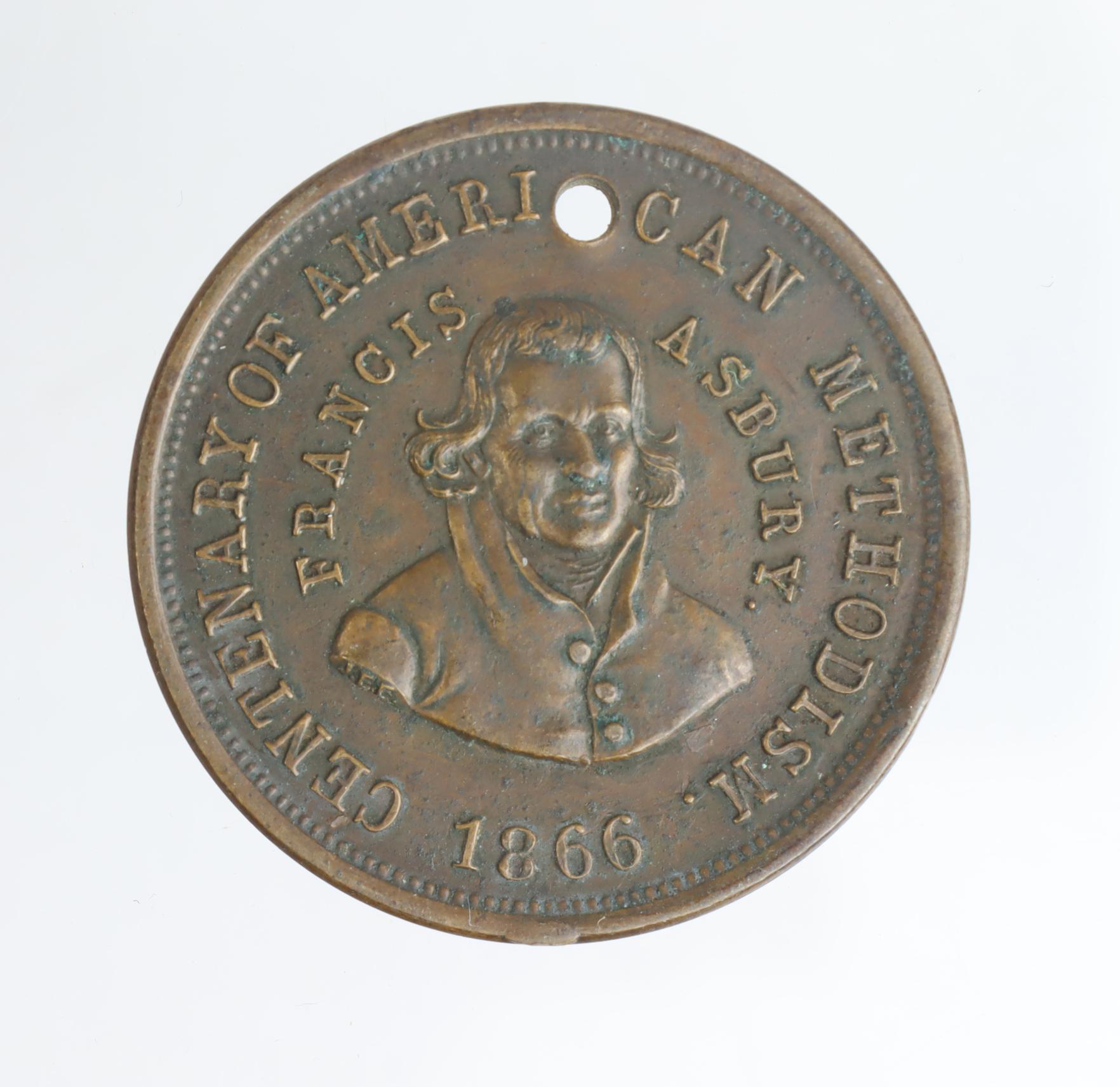 USA, Centenary of Amercian Methodism, Francis Ashbury 1866 / Childrens Medal. Copper d.30mm. NEF,