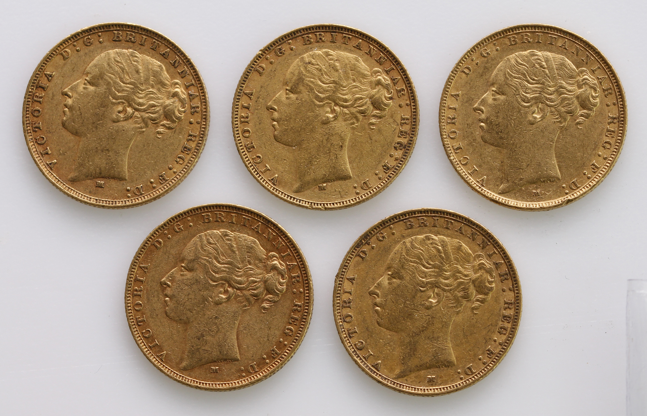 Sovereigns (5) All St George Melbourne Mint. 1878, 1879, 1882, 1884 & 1885. VF or better