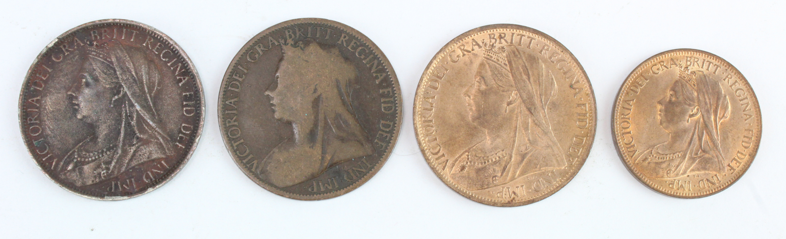 """GB Bronze (4) Queen Victoria veiled head: 1895 """"2mm"""" Fair, Penny and Halfpenny 1901 UNC with lustre,"""