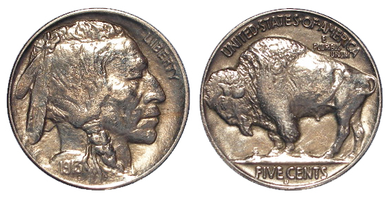USA Buffalo Nickel 5 Cents 1913D variety 2. EF by the 'Red Book', a few scratches between the