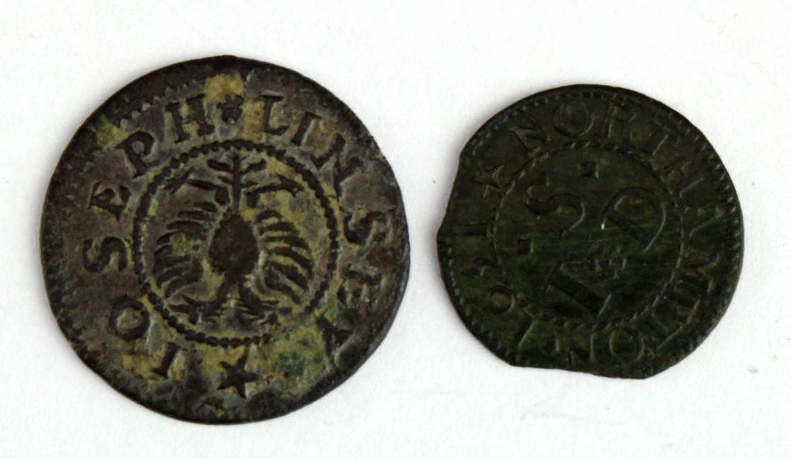 Tokens - (2) comprising Cambridge Joseph Linsey 1663, 17th centaury copper Half Penny - better