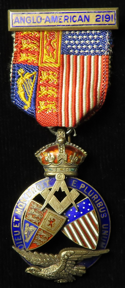 Masonic - Anglo American numbered 2191 silver & enamel medal (Founder ?) hallmarked Birm. 1898 and