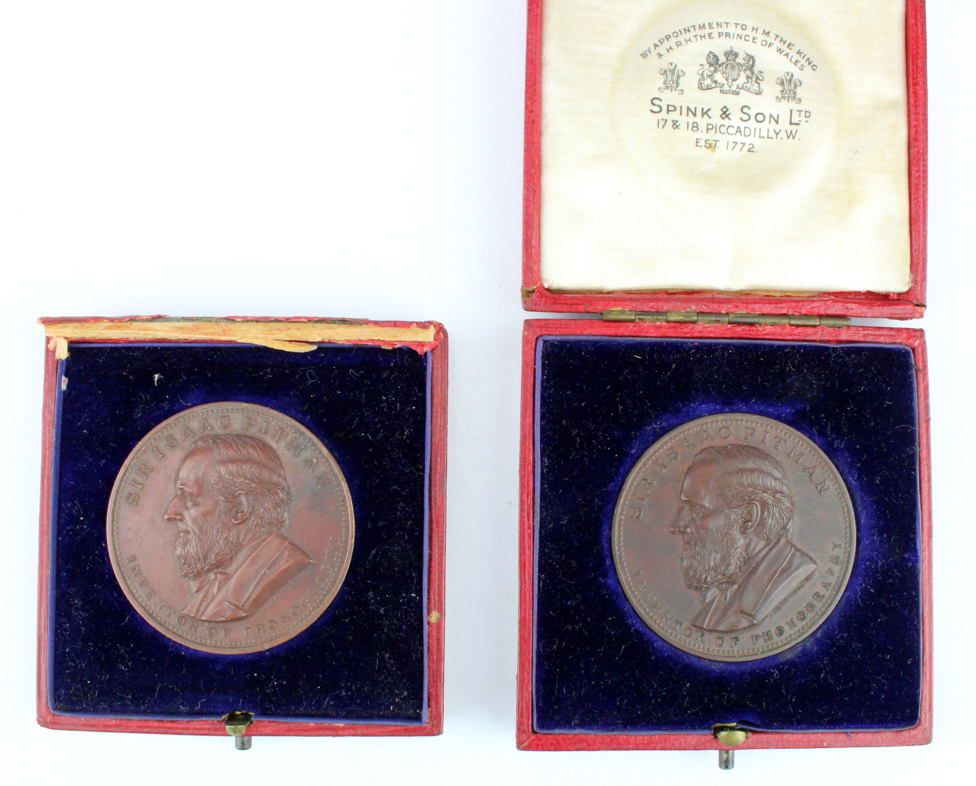 Pitman Typing Medals (2) bronze d.41.5mm, both named to GEORGE DOSWELL c.1909, aEF both cased, one