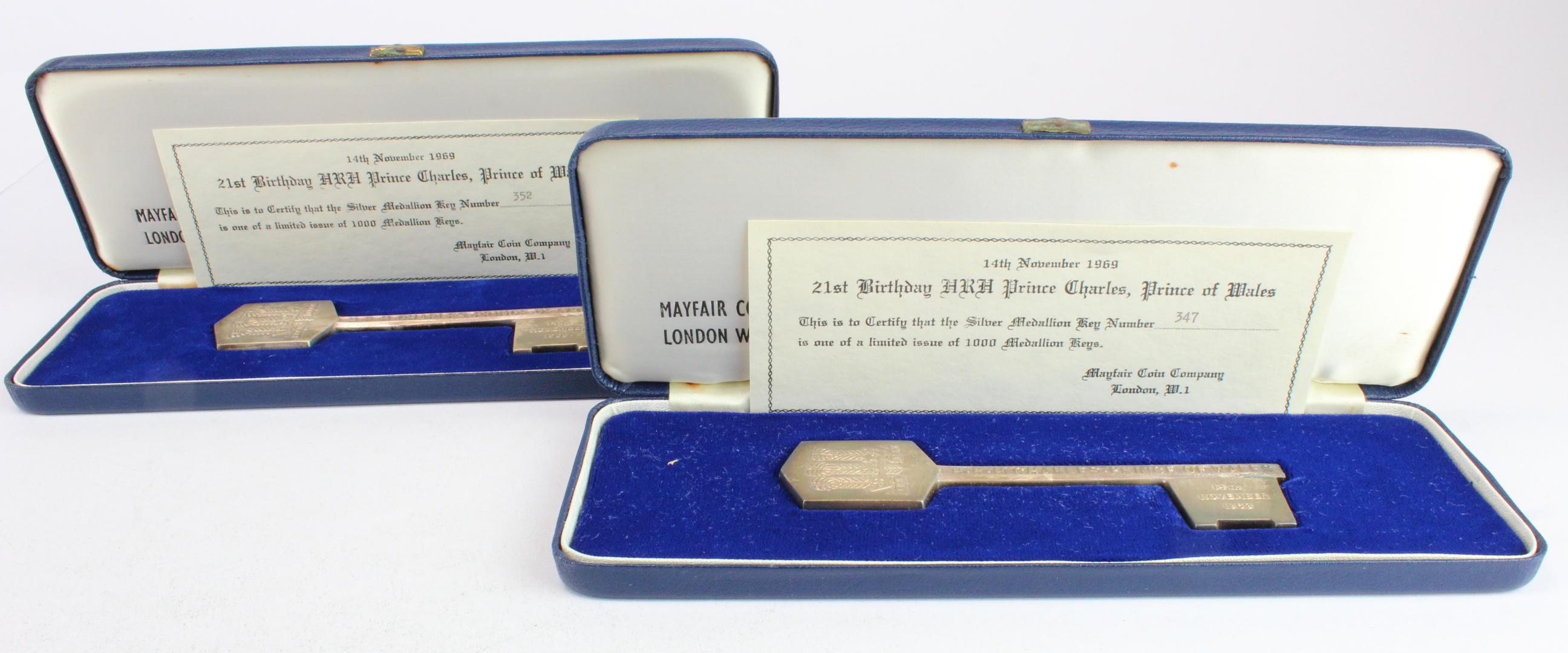 Hallmarked silver commemorative 'Medallion Key's (2) for H.R.H. Prince Charles Prince of Wales