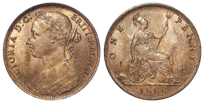 Penny 1888 UNC with lustre.