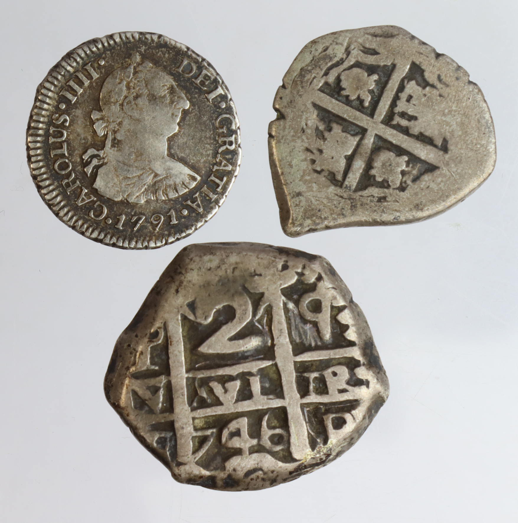 Spanish Colonial Silver (3): Bolivia cob 2 Reales 1746 aVF, a few scratches; an unidentified cob 1