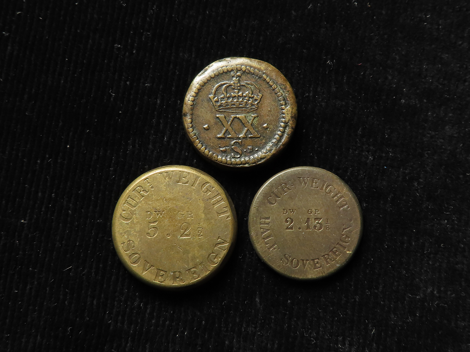 Coin Weights (3) - an excellent Charles I portrait weight for XXs, GVF, and two Queen Victoria, - Image 2 of 2