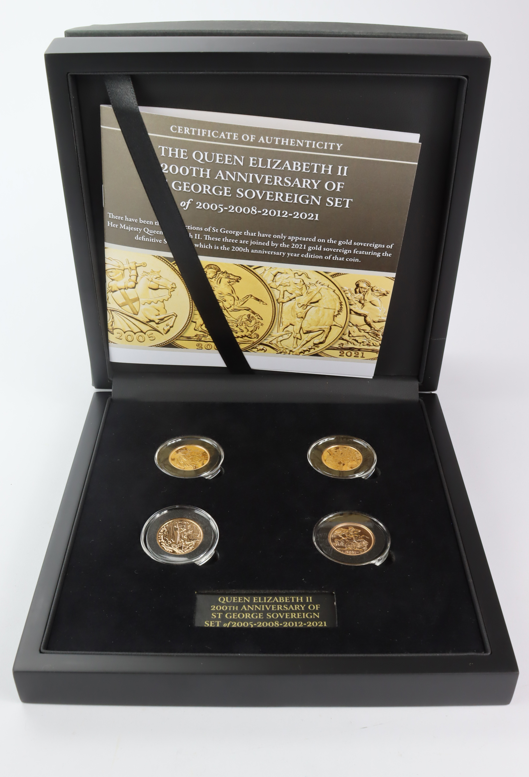 Sovereign four coin set by Hattons of London. Dates are 2005, 08, 12 & 2021. All BU in hard