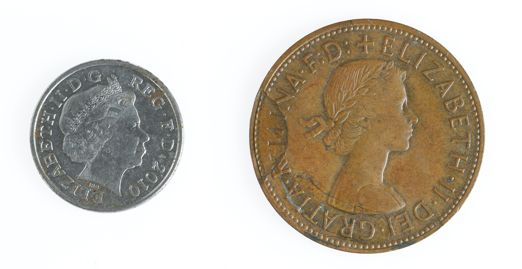 GB Error / anomalous coins (2): Penny 1965 missing some surface obverse, along with the steel core - Image 2 of 2