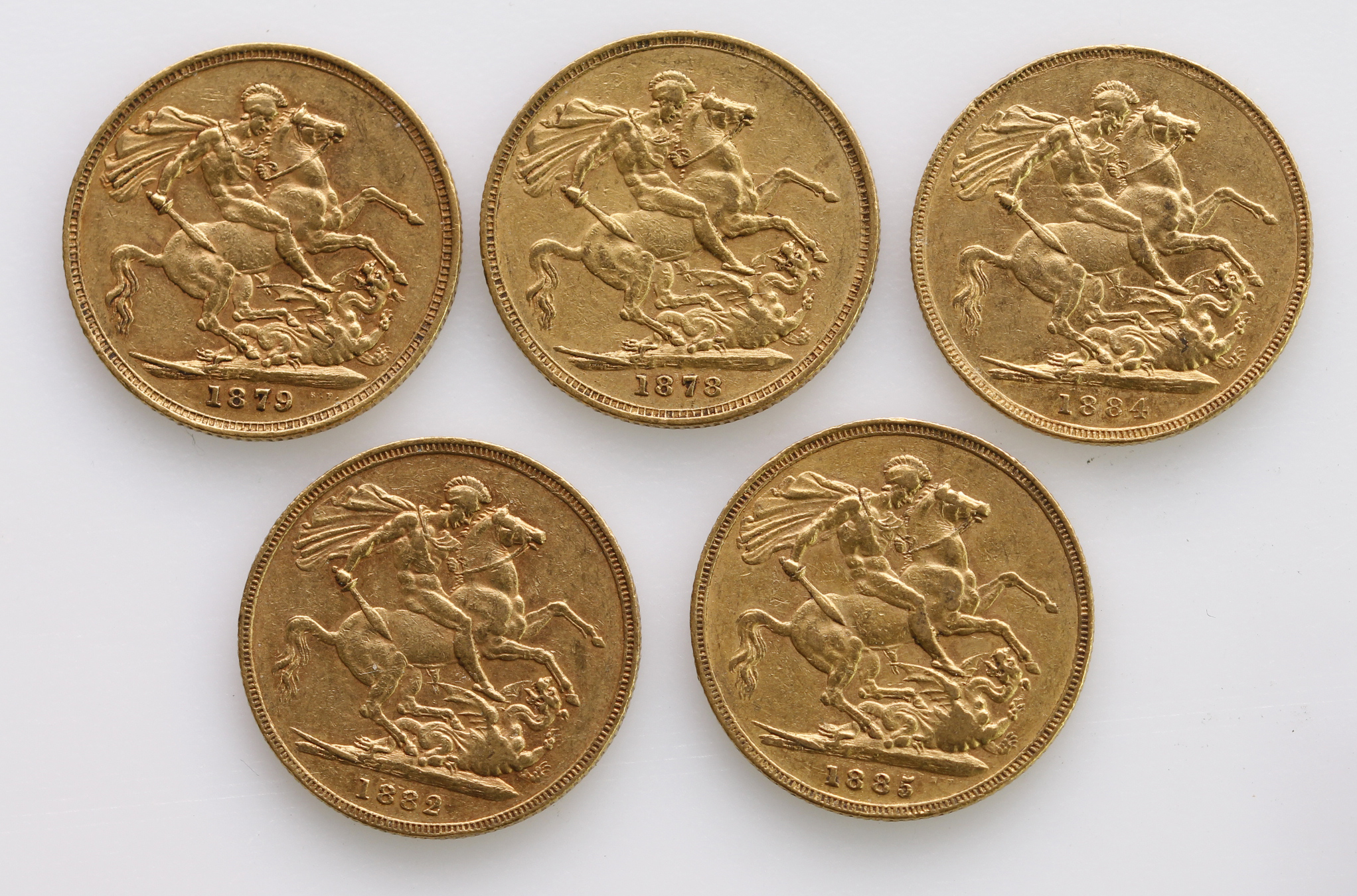 Sovereigns (5) All St George Melbourne Mint. 1878, 1879, 1882, 1884 & 1885. VF or better - Image 2 of 2