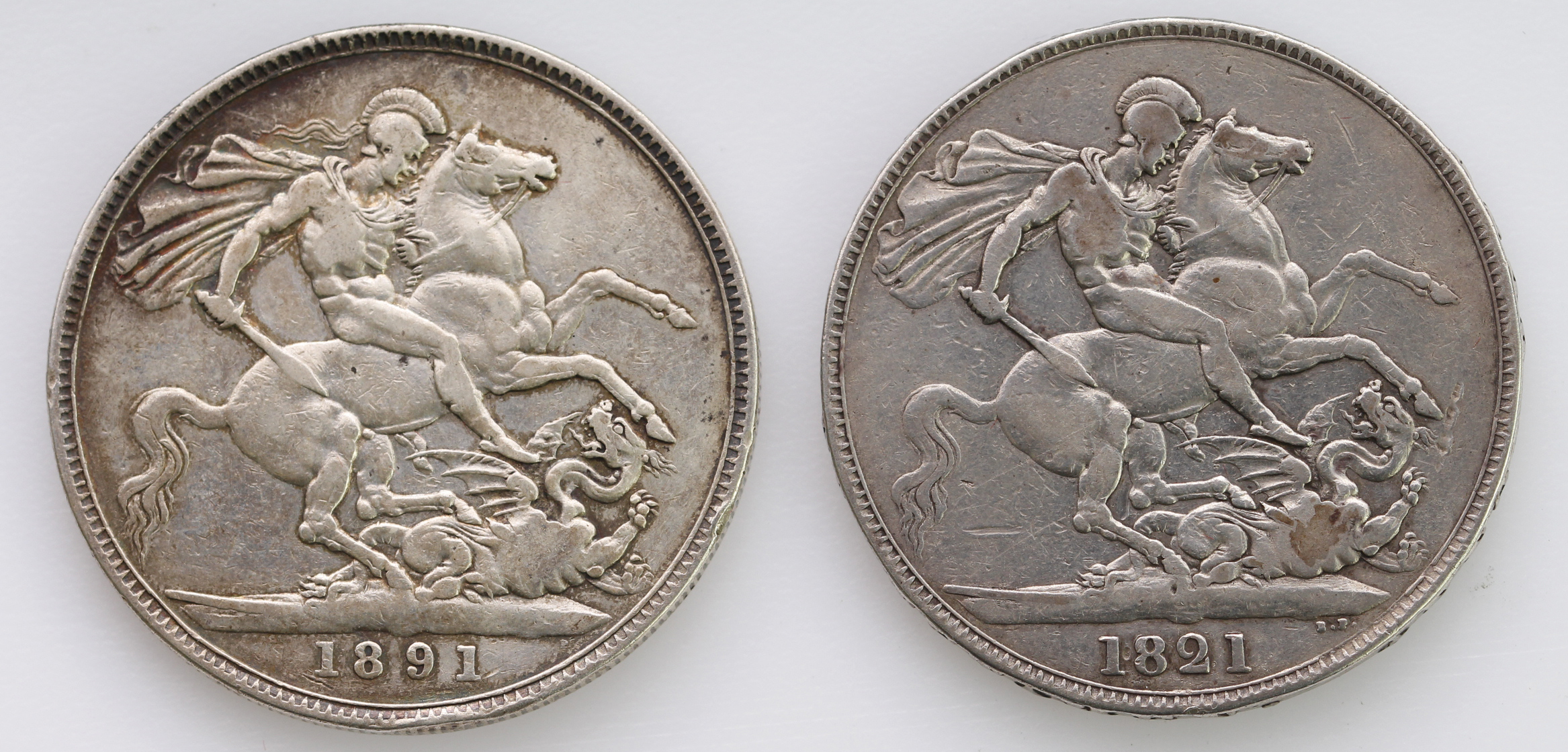 Crowns (2): 1821 Secundo Fine, and 1891 GF - Image 2 of 2