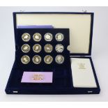 TheQueen MotherCentenaryCollection 2000. The 12 coin set, all Crown-sized and insilverfrom a