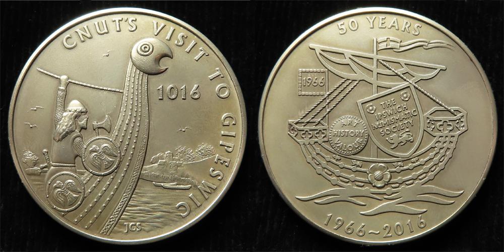 British Commemorative Medal, hallmarked sterling silver d.37mm, 31.73g: Cnut's Visit to Gipeswic (