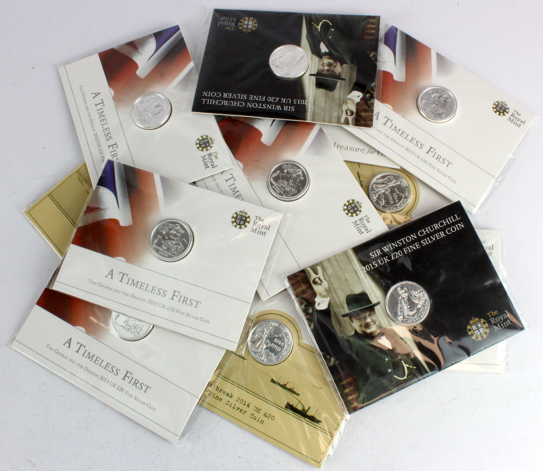 GB Royal Mint silver £20 coins (13) in sealed presentation packs.