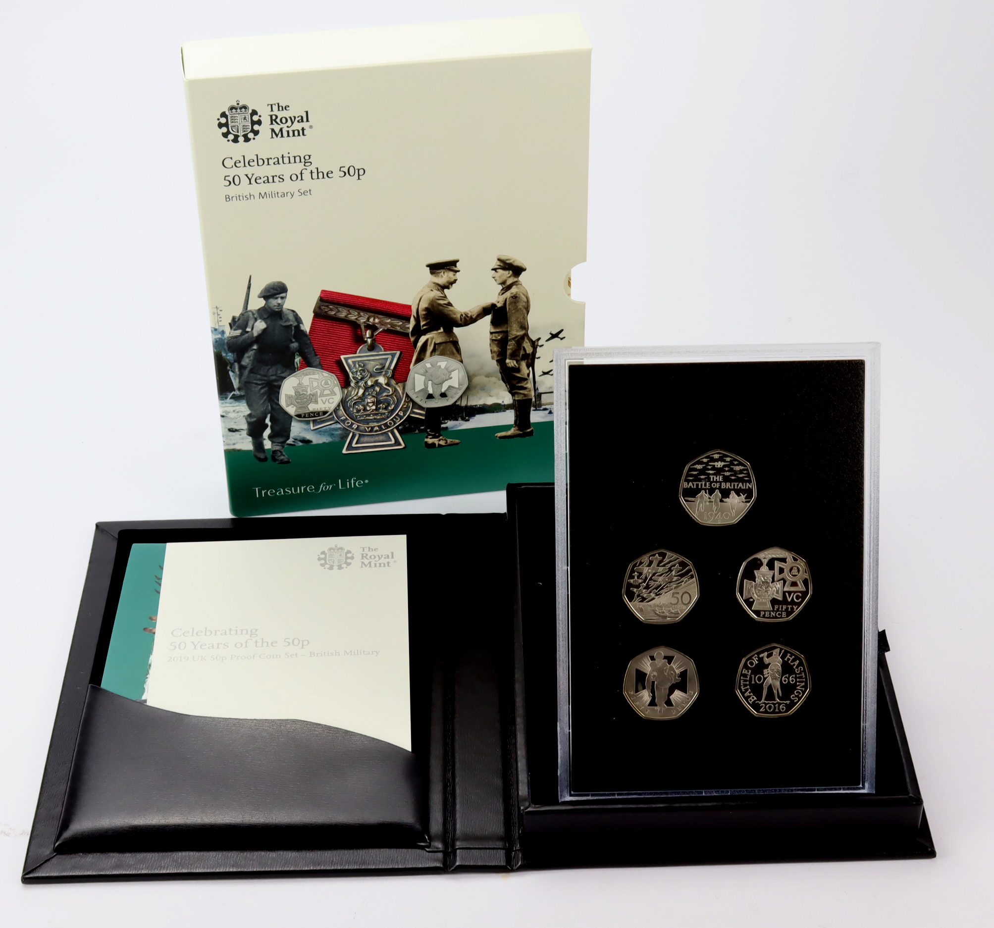 """Fifty Pence 2019 five coin set """"British Military"""" includes D-Day, Battle of Britain, VC, Heroic Acts"""