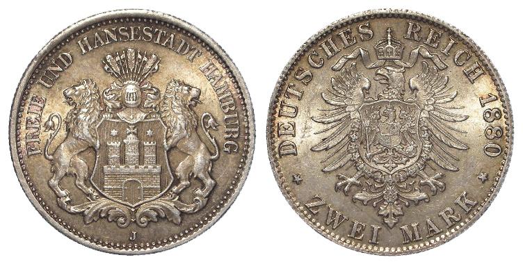 German State Hamburg 2 Mark 1880J, EF, scarce date.