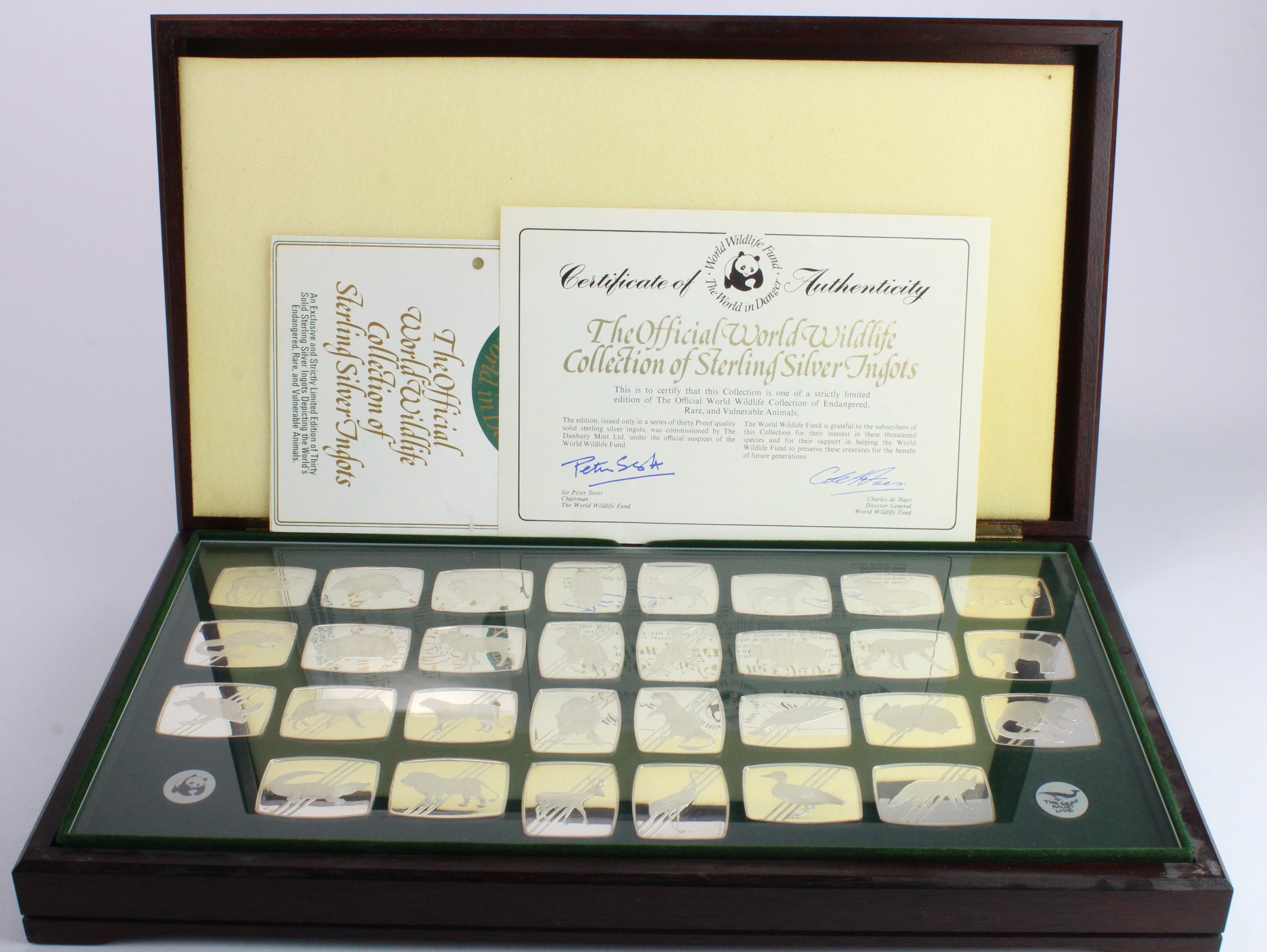 Silver Ingots (30): The World Wildlife Fund Collection of Sterling Silver Ingots by the Danbury Mint