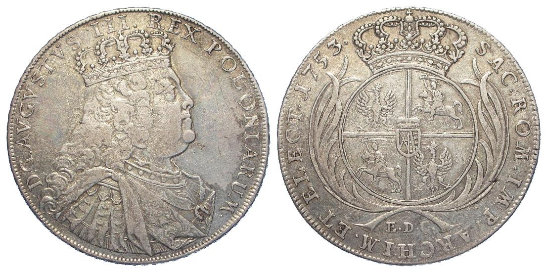 German State, Saxony-Albertine silver Thaler 1753 EDC, KM# 929.1, near or aVF, scarce.