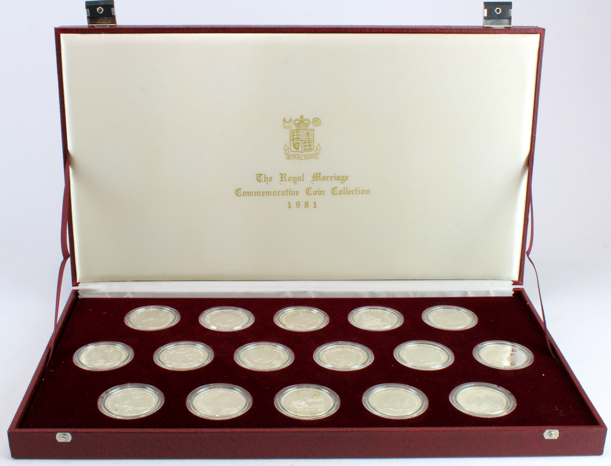 The Royal Marriage Commemorative Coin Collection 1981, the sixteen coin world silver proof crown set