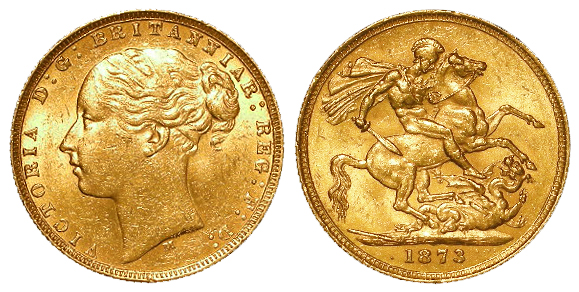 Sovereign 1873m (St George) GVF/nEF a few tiny contact marks obverse under magnification