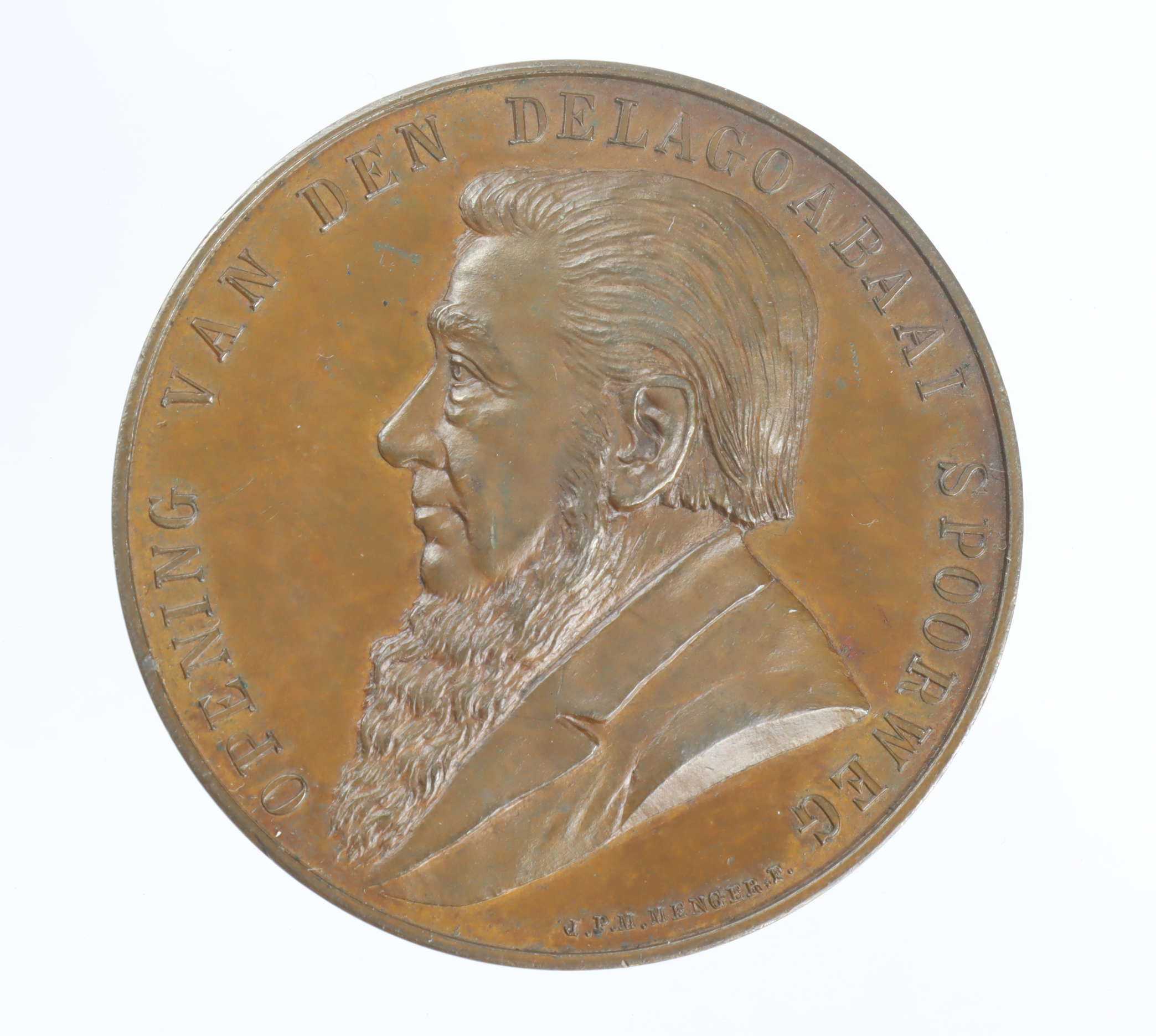 Railwayana: South African commemorative medal, bronze d.44mm: Kruger / Opening of the Pretoria to