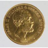 Sweden gold 20K 1863 aEF