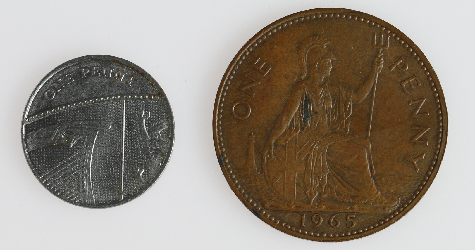 GB Error / anomalous coins (2): Penny 1965 missing some surface obverse, along with the steel core