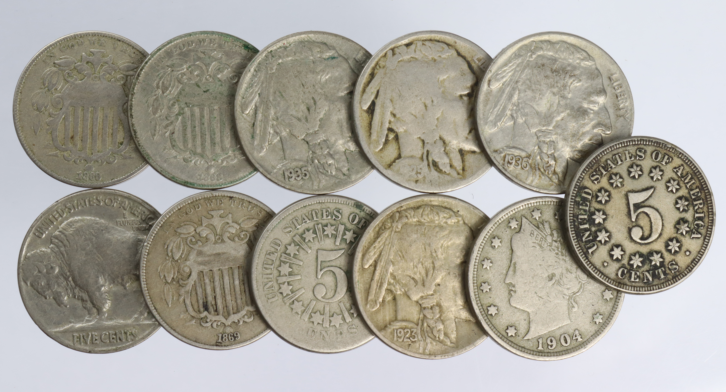 USA Nickel 5-Cents (11) 19th-20thC, noted: 1866 G, 1867 no rays GF, 1868 aVF, 1868 VG, and 1869