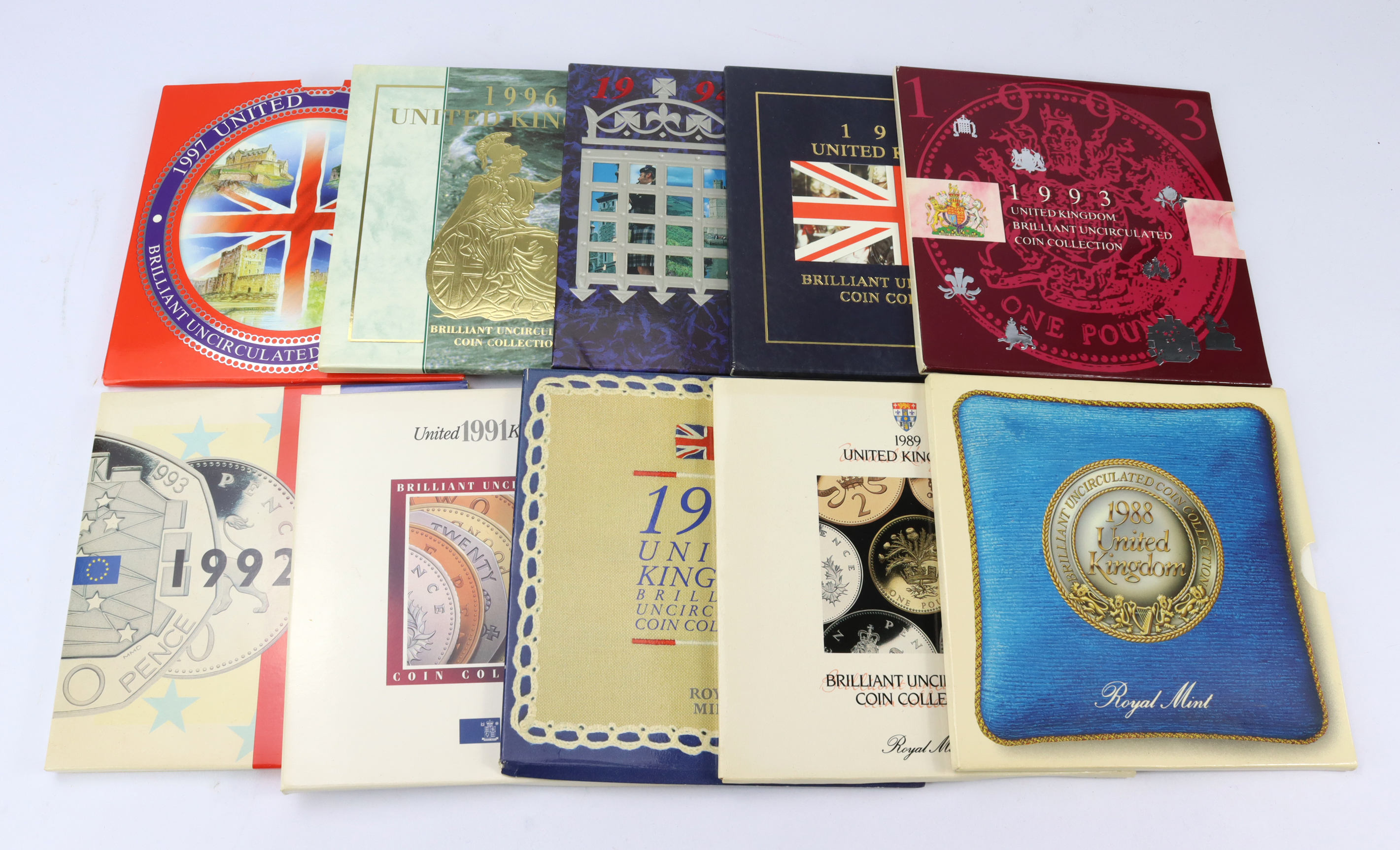 GB Mint sets (10) a date run from 1988 - 1997. All BU in the Royal mint packaging