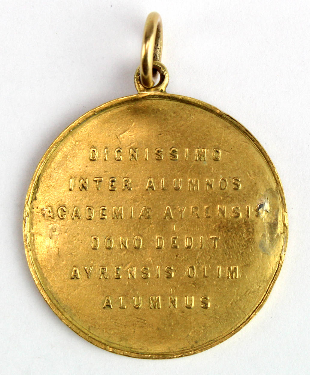 Ayr Academy - unmarked yellow metal medal (tests as 22ct. gold) to James Stobo 1872 (probably has - Image 2 of 2