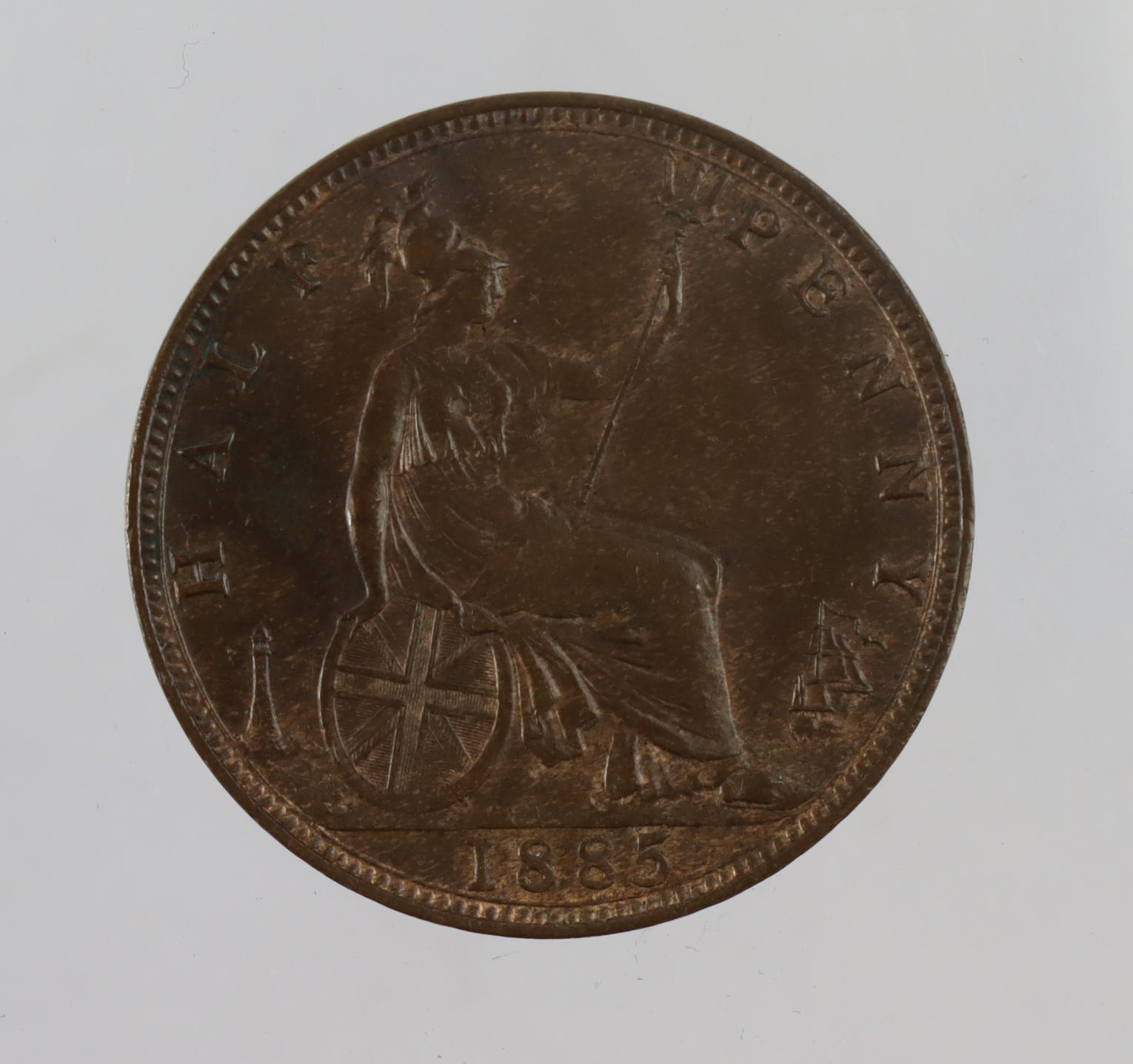Halfpenny 1885 GEF trace lustre, small scratch obv. - Image 2 of 2