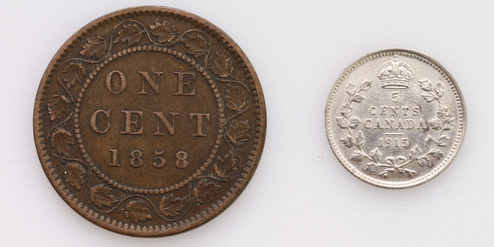 Canada (2): 5 Cents 1915 nEF, and One Cent 1858 medal alignment, VF - Image 2 of 2