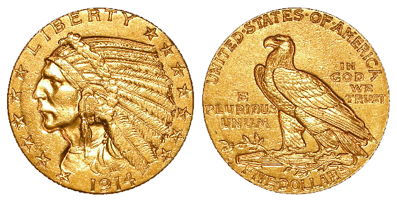 USA gold Five Dollars 1914. GVF