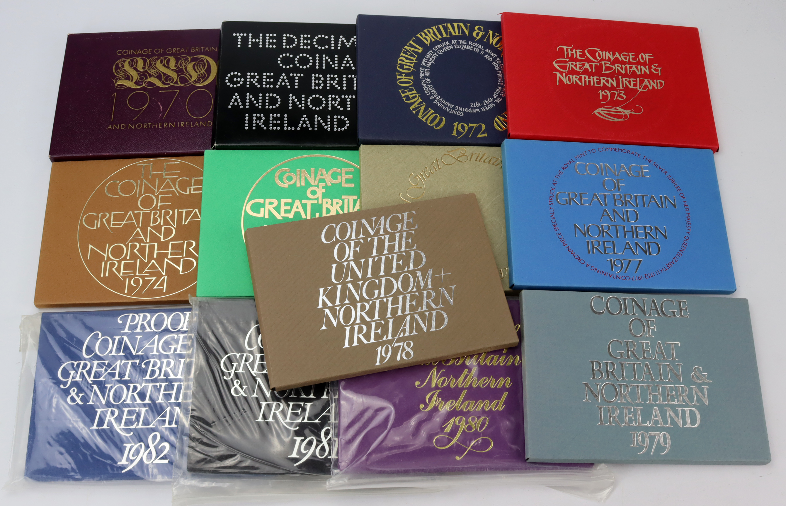 GB Proof Sets (13) 'flat packs': 1970 to 1982 date run.